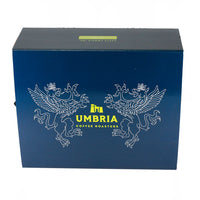 a blue gift box with yellow caffe umbria logo
