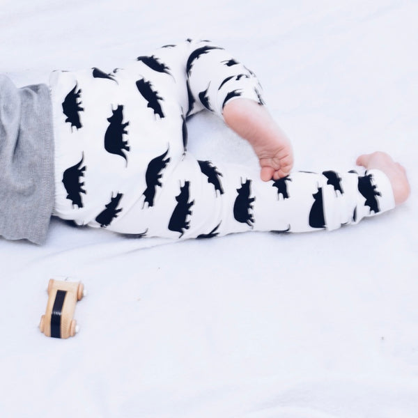 White Terry the Triceratops Dinosaur Baby & Toddler Leggings