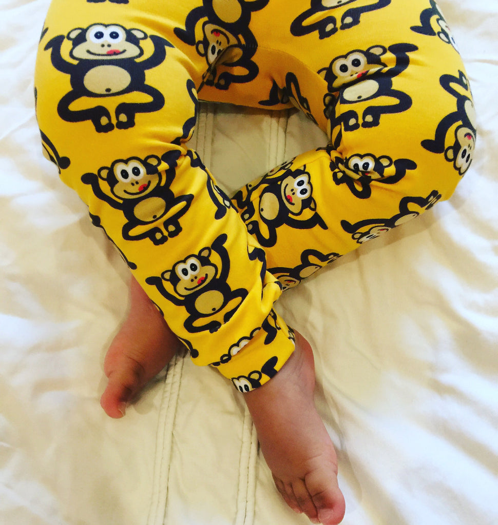 Yellow Cheeky Monkey Unisex Baby and Toddler Leggings