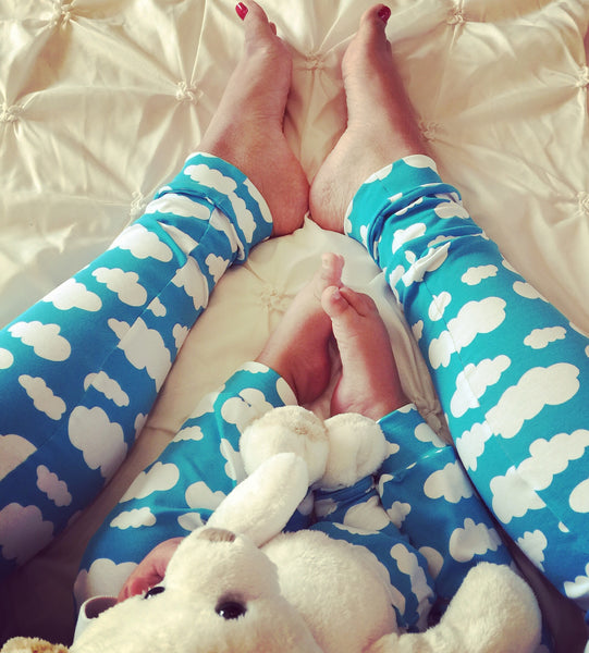 Over the Bump Maternity Baby Brain Blue Cloud Adult Handmade Leggings