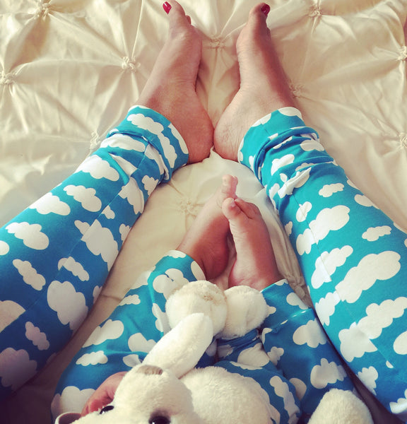 Baby Brain Blue Cloud Adult Handmade Leggings