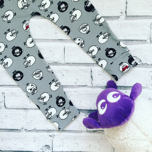 Grey Shaun the Cool Sheep Handmade Leggings