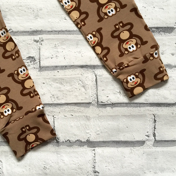 Brown Marvin the Cheeky Monkey Handmade Leggings