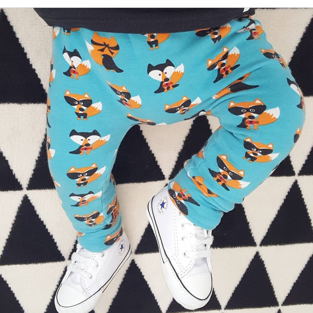 Blue Seb the Superhero Fox Organic Baby & Toddler Leggings