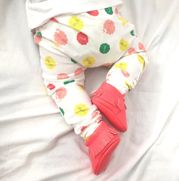 Pink and Lemon Biscuit Handmade Leggings