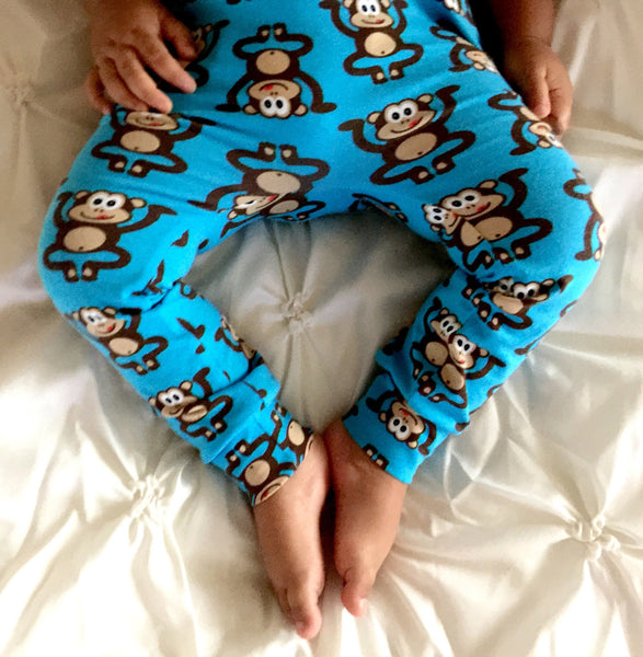 Blue Marvin the Cheeky Monkey Handmade Leggings
