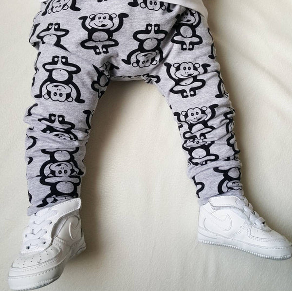 Grey Marvin the Cheeky Monkey Handmade Leggings