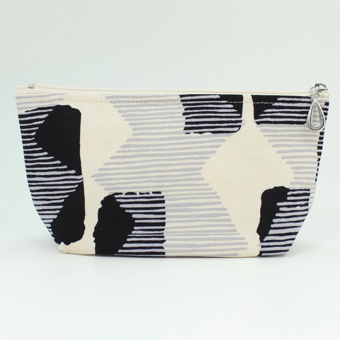 Black + Grey Abstract Zippered Pouch