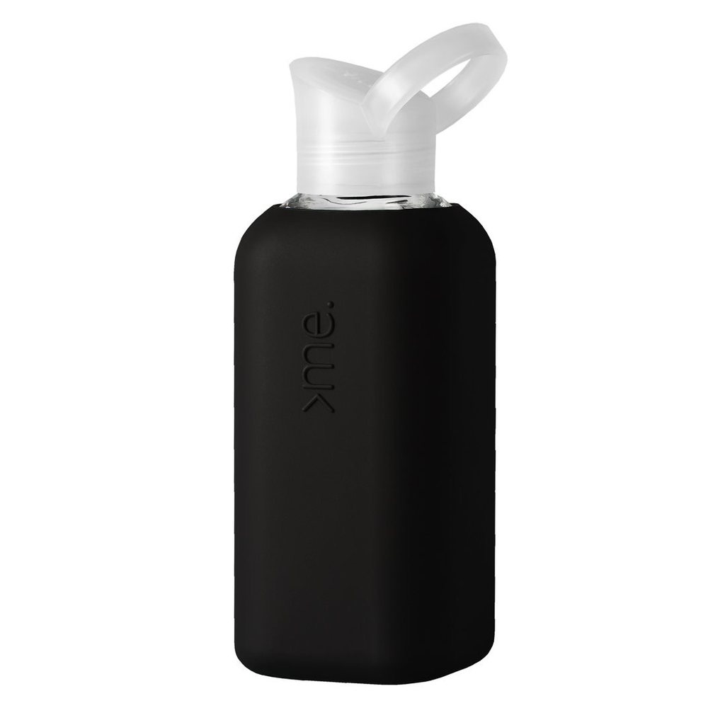Glass + Silicone Water Bottle, Black