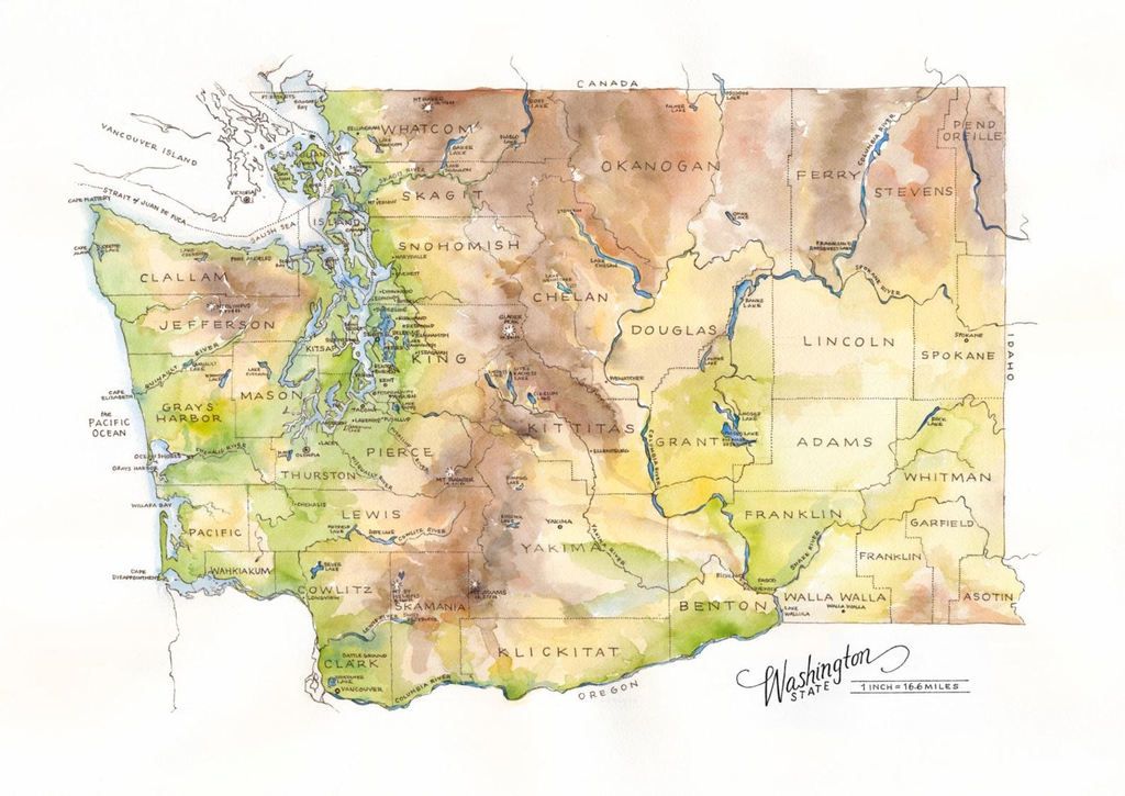 Washington State 18x24 Print