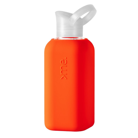 Glass + Silicone Water Bottle, Orange