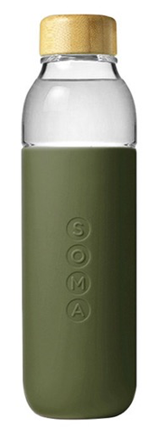 Soma Glass Water Bottle - Olive