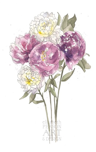 Peony Bouquet I, ink and watercolor original, 13x19
