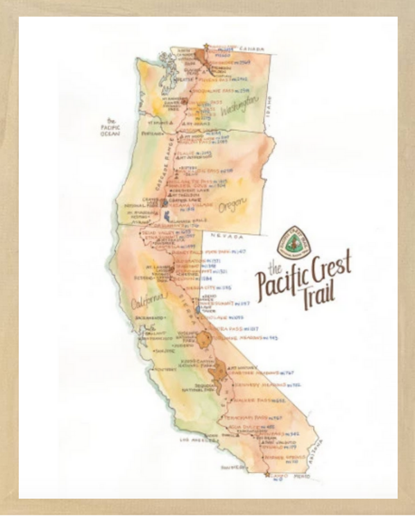 Pacific Crest Trail Print, 18x24, Framed