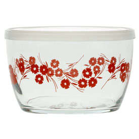 Storage Bowl, Red Wheatflower