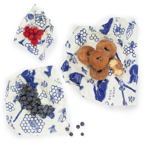 Beeswax Reusable Food Wrap, set of 3 Bears & Bees Pattern