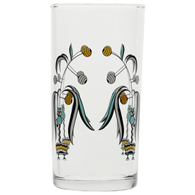 Italian Wine Glass, Deco Floral pattern