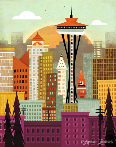 Seattle Skyline Print 11x14