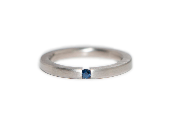 Sapphire and Stainless Steel Ring