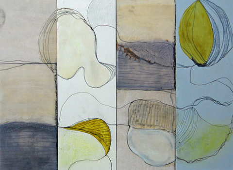 "Mixed Media 29, 12""x4"" (x4) set of four, Frances Smersh and Stephanie Hargrave"