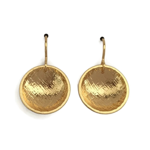 Rain City Forge Concave Earrings, Hatch, 24k Vermeil