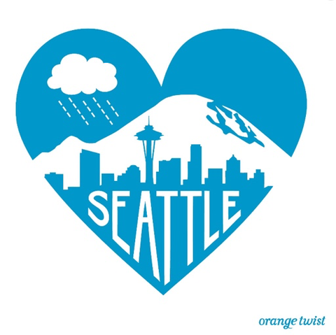 Seattle Love Print, Blue 12x12