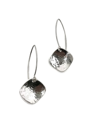 Rain City Forge Cushion Marquis Earrings, Silver