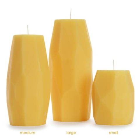 Beeswax Faceted Pillar Candle, Small