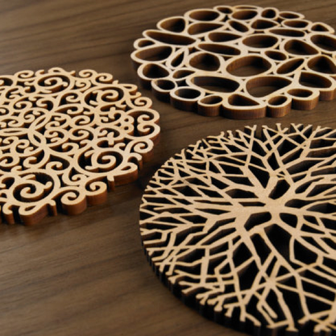 Laser Cut Wood Coasters, Organics