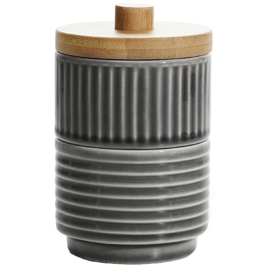 Textured Stacking Container with Bamboo Lid