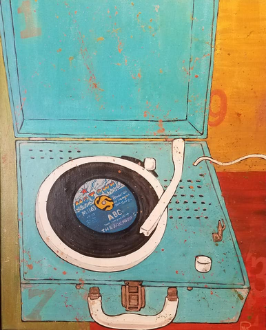 Blue Record Player - 1973 Series - Acrylic on Canvas