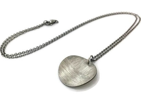 Linear Necklace, Large, Dark Silver