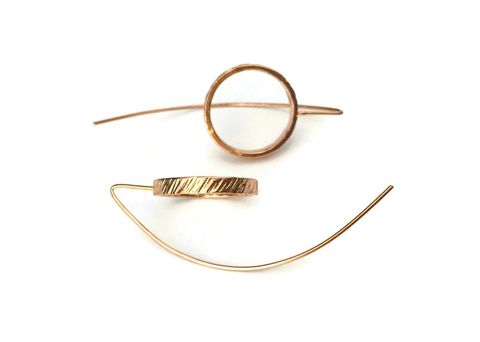 Rain City Forge Curvature Earrings, Rose Gold Vermeil