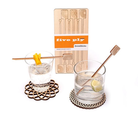 Laser Cut Wood Drink Sticks