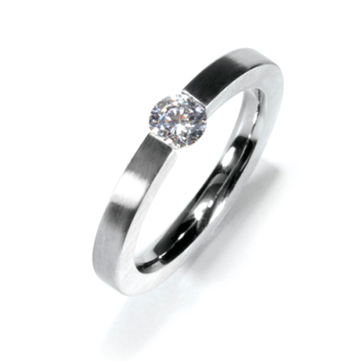 Diamond and Stainless Steel Ring