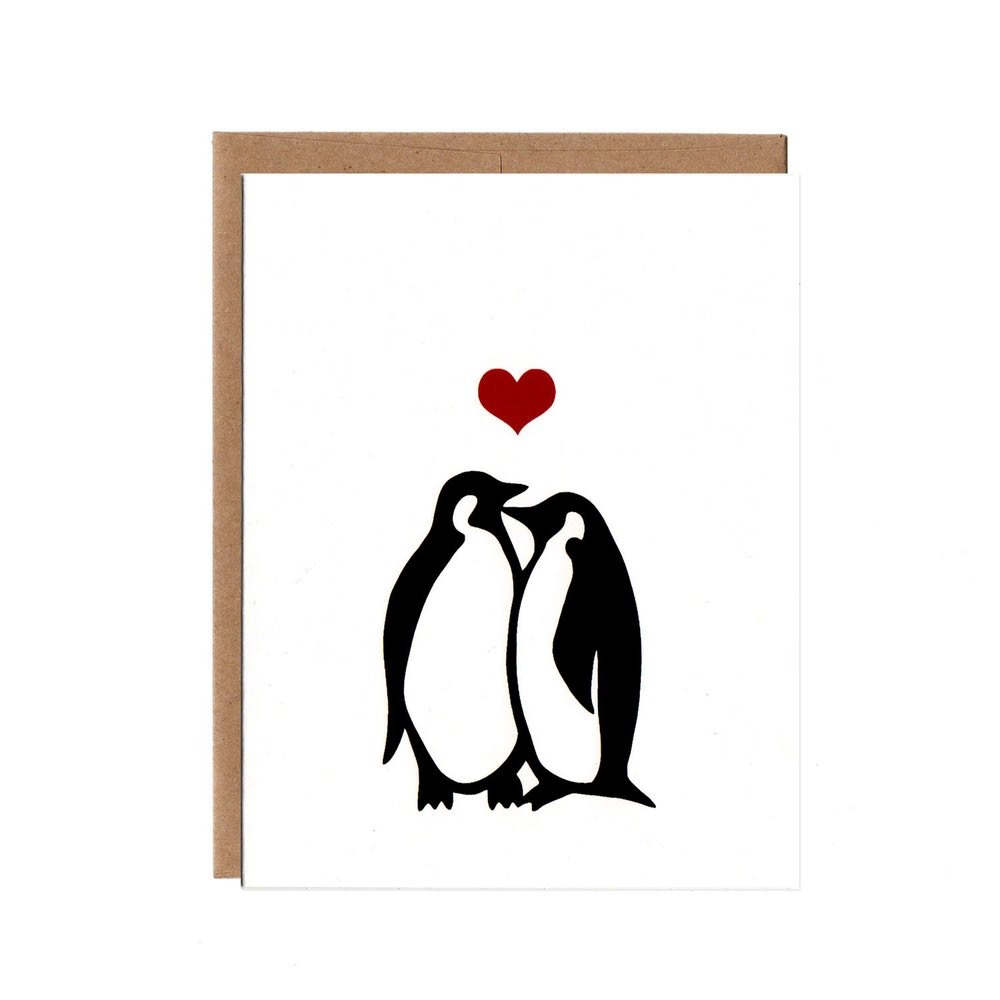 Penguins in Love Card