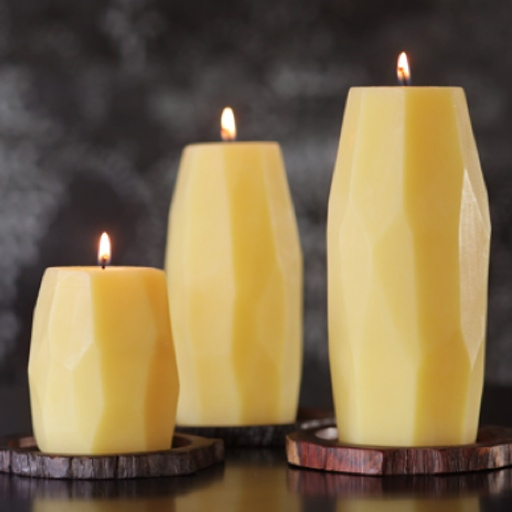 Beeswax Faceted Pillar Candle, Medium