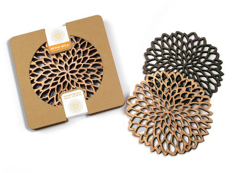 Laser Cut Wood Trivets - Set of 2 - Petals