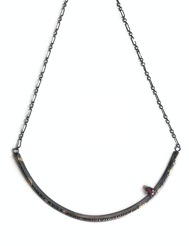 Safe Place Necklace, Garnet+ Dark Silver + 18k Gold