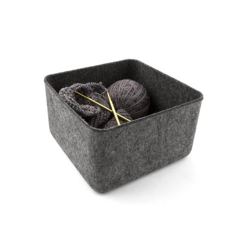Felt Storage Basket, Medium Charcoal