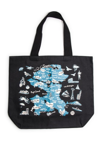 Seattle neighborhood Tote, Black