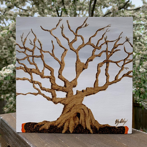 Winter Bonsai, 8x8, Woodburn art