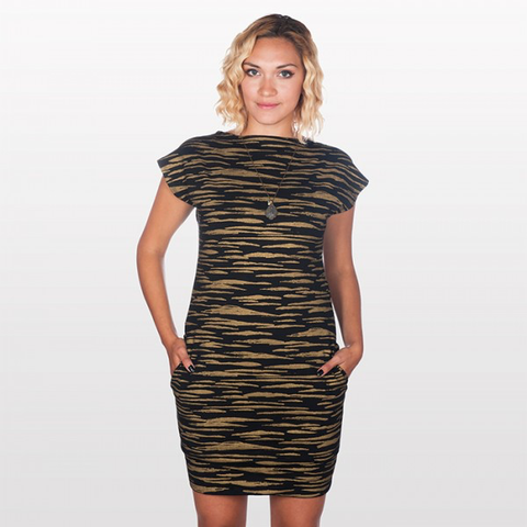 FluffyCo Mod Dress, Gold Slashes