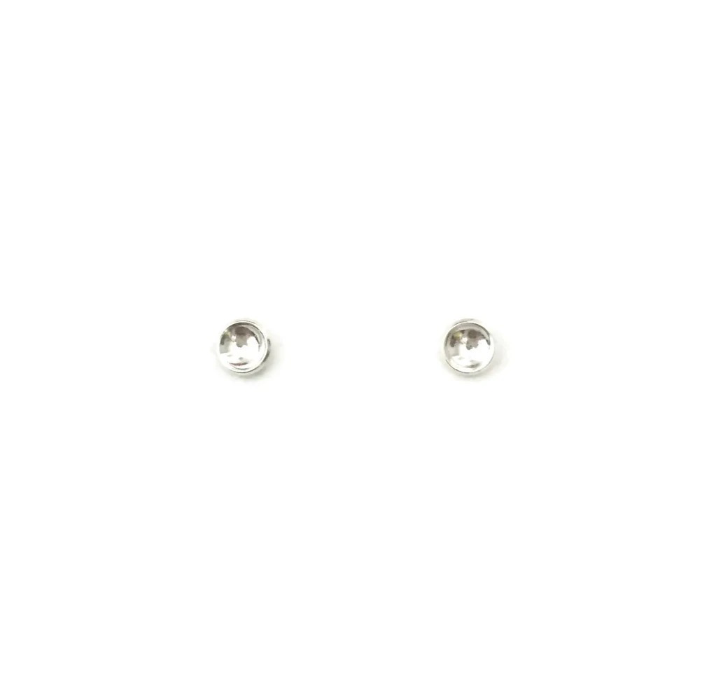 Tiny Concave Studs, Silver