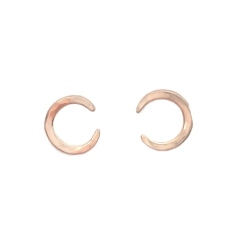 Rain City Forge Crescent Moon Studs, Rose Gold Vermeil