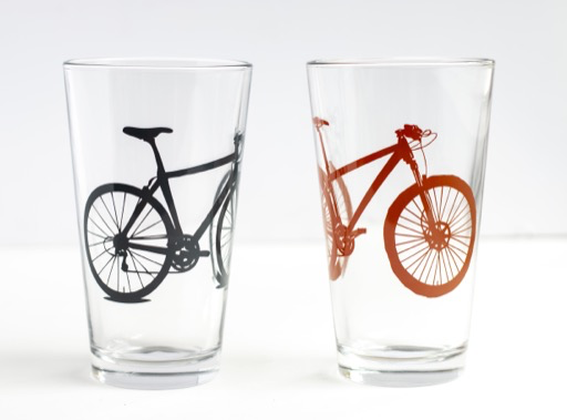 Bike Pint Glass, Charcoal