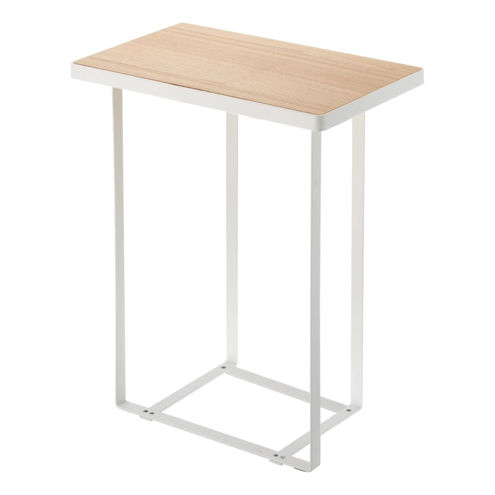 Rectangle End Table with Storage, White
