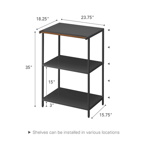 3-tier Storage Rack, Black