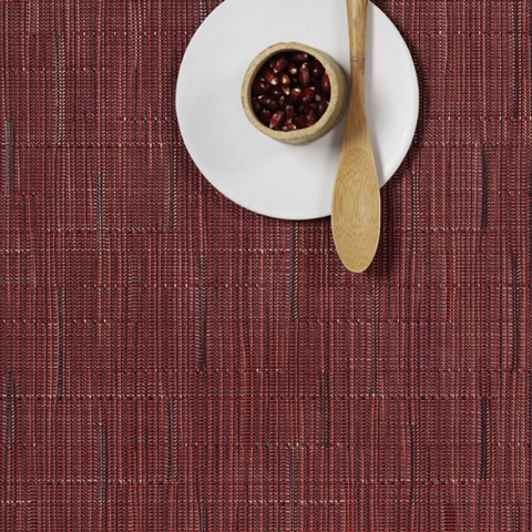 Placemat, Bamboo weave, Cranberry, Rectangle