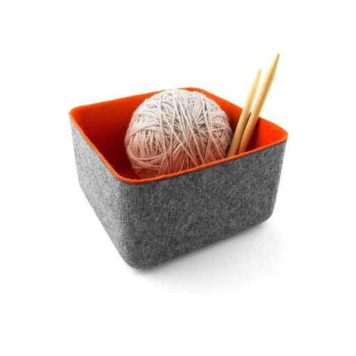 Felt Storage Basket, Medium Orange